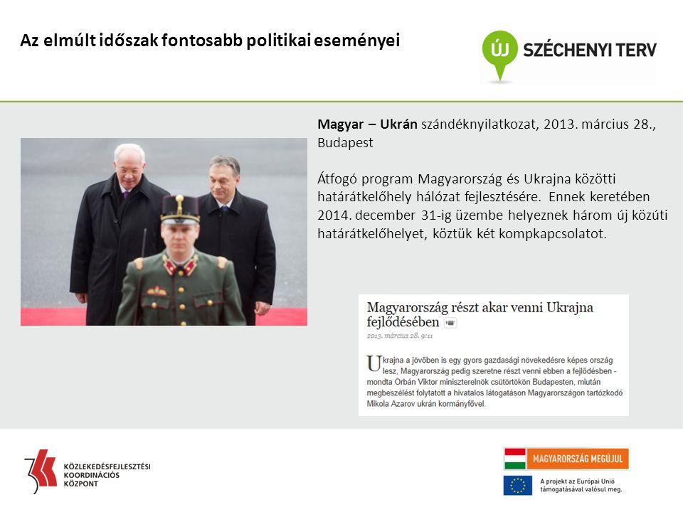 Az elmúlt időszak fontosabb politikai eseményei Magyar – Ukrán szándéknyilatkozat, 2013. március 28., Budapest Átfogó program Magyarország és Ukrajna