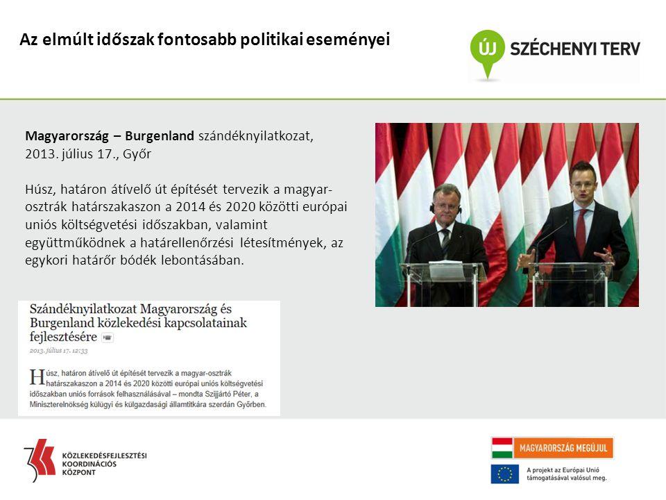 Az elmúlt időszak fontosabb politikai eseményei Magyarország – Burgenland szándéknyilatkozat, 2013. július 17., Győr Húsz, határon átívelő út építését