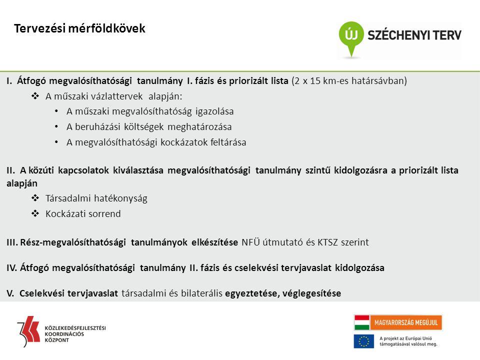 I. Átfogó megvalósíthatósági tanulmány I. fázis és priorizált lista (2 x 15 km-es határsávban)  A műszaki vázlattervek alapján: A műszaki megvalósíth