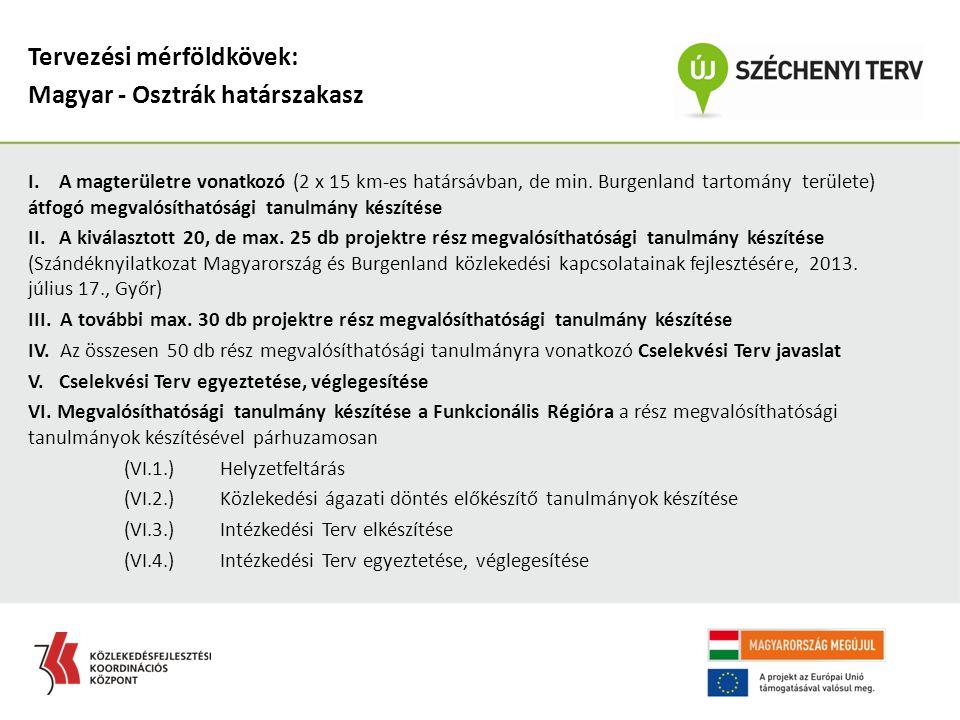 I. A magterületre vonatkozó (2 x 15 km-es határsávban, de min. Burgenland tartomány területe) átfogó megvalósíthatósági tanulmány készítése II. A kivá