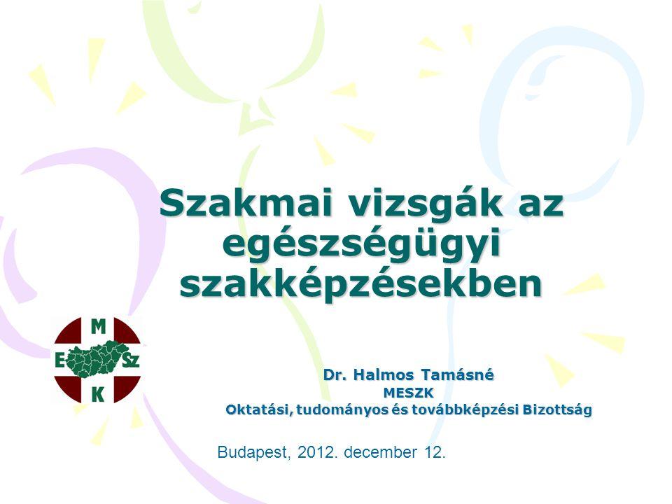 Szakmai vizsgák az egészségügyi szakképzésekben Dr. Halmos Tamásné MESZK Oktatási, tudományos és továbbképzési Bizottság Budapest, 2012. december 12.