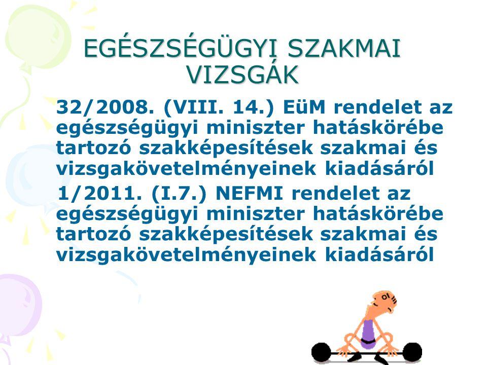 EGÉSZSÉGÜGYI SZAKMAI VIZSGÁK 32/2008. (VIII. 14.) EüM rendelet az egészségügyi miniszter hatáskörébe tartozó szakképesítések szakmai és vizsgakövetelm