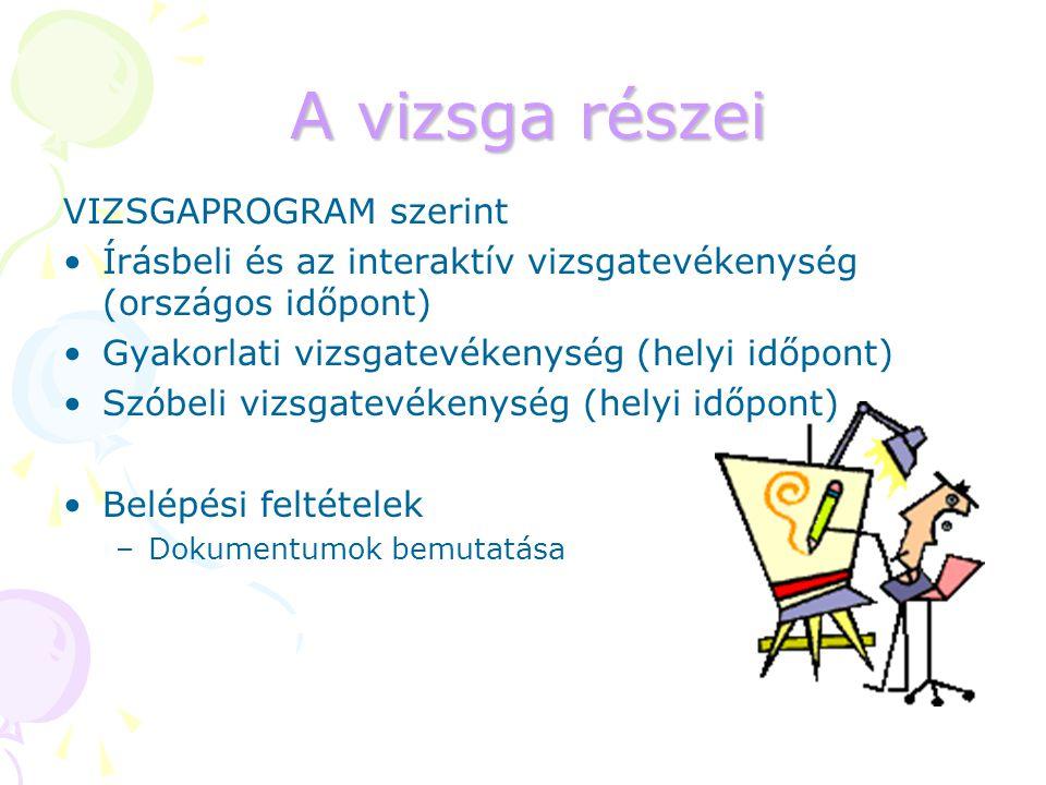 A vizsga részei VIZSGAPROGRAM szerint Írásbeli és az interaktív vizsgatevékenység (országos időpont) Gyakorlati vizsgatevékenység (helyi időpont) Szób