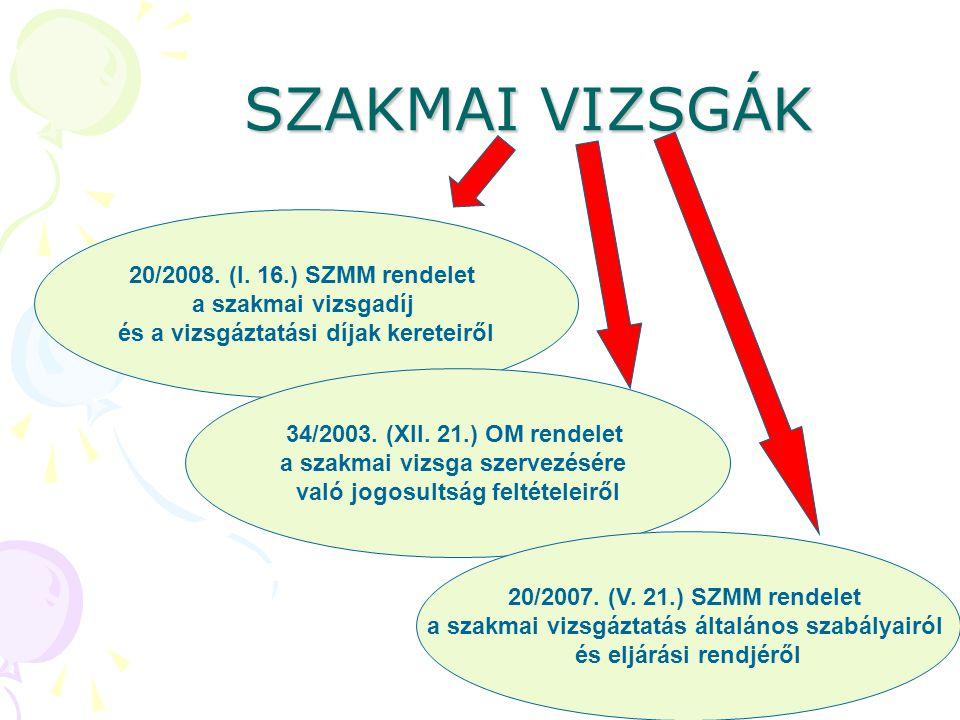 20/2008. (I. 16.) SZMM rendelet a szakmai vizsgadíj és a vizsgáztatási díjak kereteiről SZAKMAI VIZSGÁK 34/2003. (XII. 21.) OM rendelet a szakmai vizs
