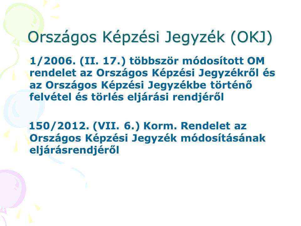 Országos Képzési Jegyzék (OKJ) 1/2006. (II. 17.) többször módosított OM rendelet az Országos Képzési Jegyzékről és az Országos Képzési Jegyzékbe törté
