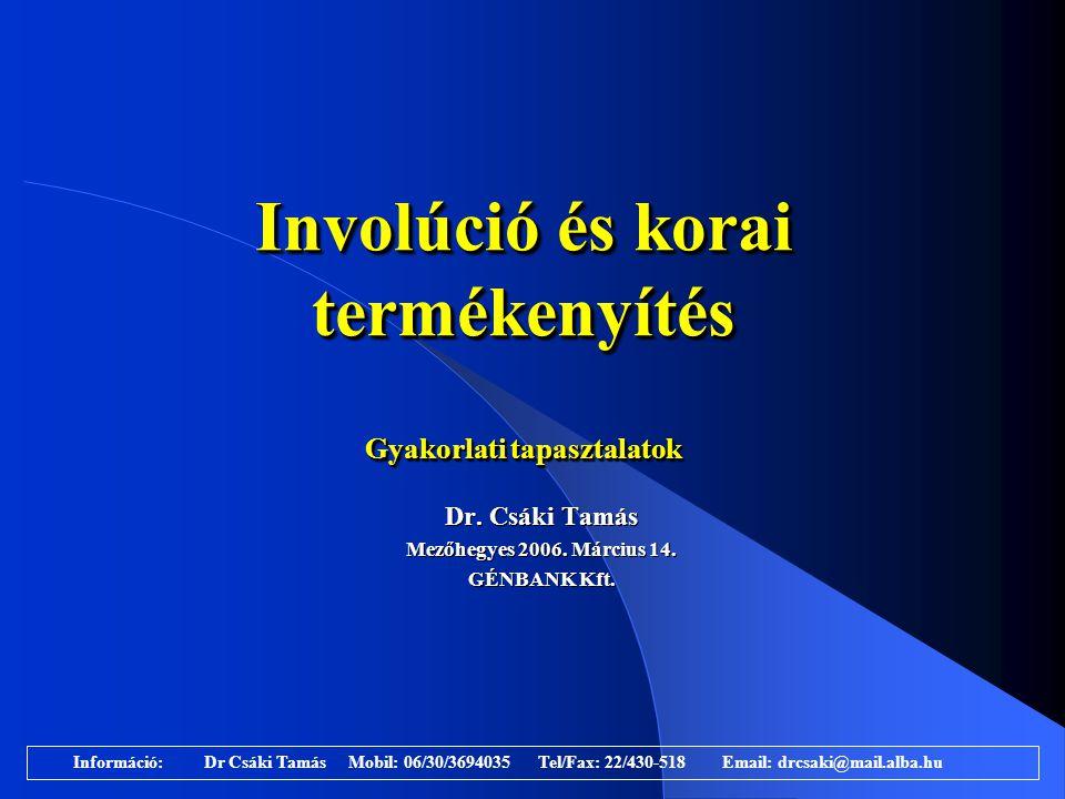 Involúció és korai termékenyítés Gyakorlati tapasztalatok Dr. Csáki Tamás Mezőhegyes 2006. Március 14. GÉNBANK Kft. Dr. Csáki Tamás Mezőhegyes 2006. M