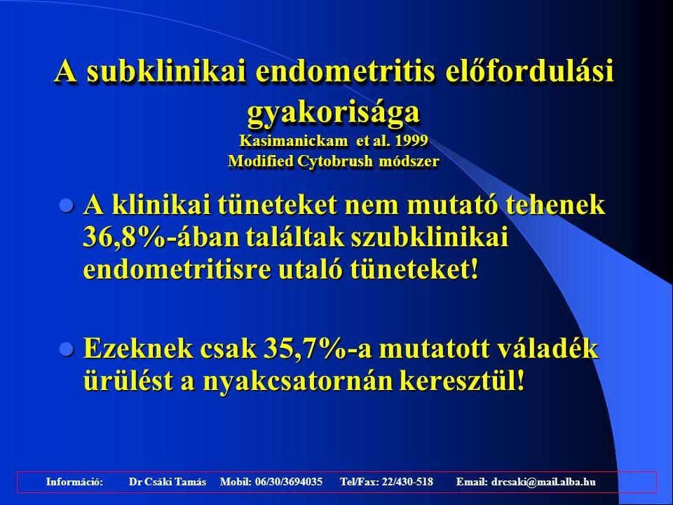 A subklinikai endometritis előfordulási gyakorisága Kasimanickam et al. 1999 Modified Cytobrush módszer A klinikai tüneteket nem mutató tehenek 36,8%-