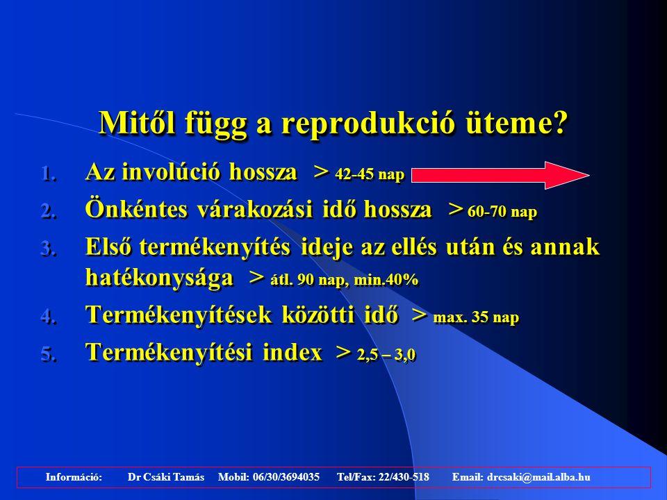 Az újravemhesülés üteme normál involúciójú és szubklinikai endometritiszes állományok esetében Kasimanickam et al., Theriogenology, 2004.