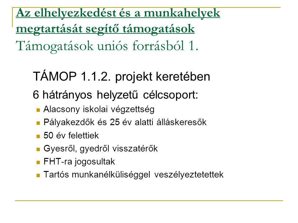 Az elhelyezkedést és a munkahelyek megtartását segítő támogatások Támogatások uniós forrásból 1. TÁMOP 1.1.2. projekt keretében 6 hátrányos helyzetű c