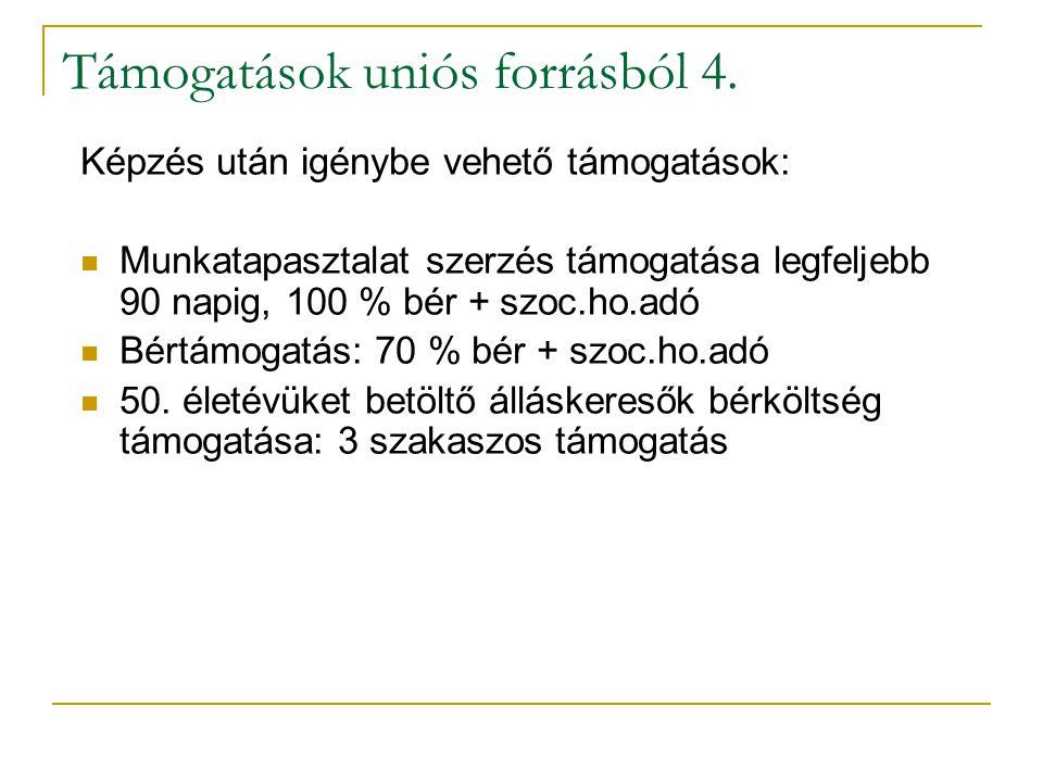 Támogatások uniós forrásból 4. Képzés után igénybe vehető támogatások: Munkatapasztalat szerzés támogatása legfeljebb 90 napig, 100 % bér + szoc.ho.ad