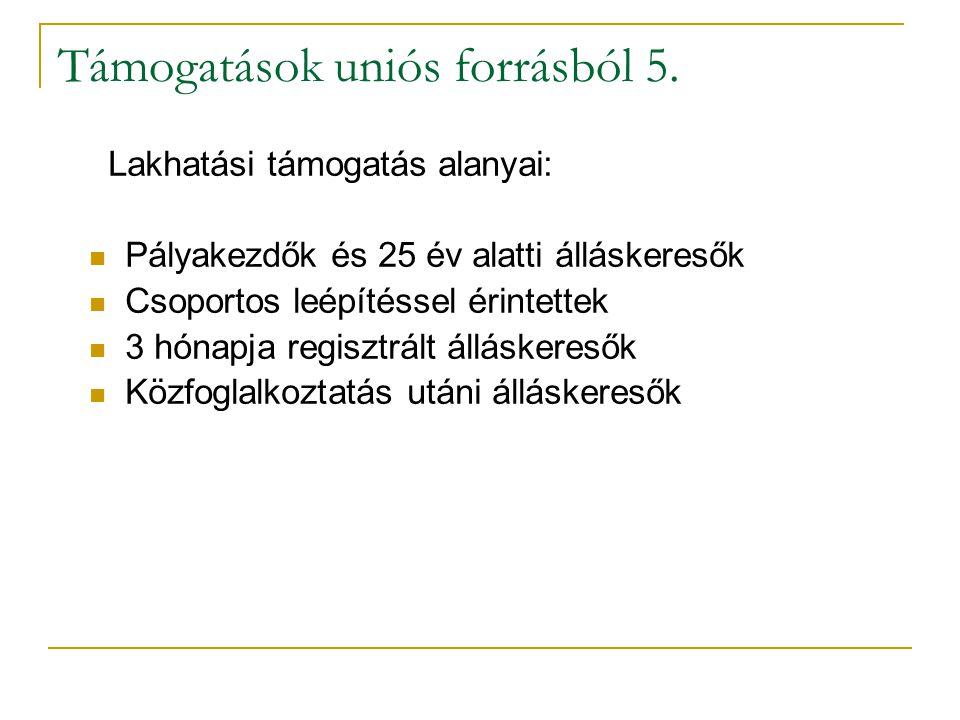 Támogatások uniós forrásból 5. Lakhatási támogatás alanyai: Pályakezdők és 25 év alatti álláskeresők Csoportos leépítéssel érintettek 3 hónapja regisz