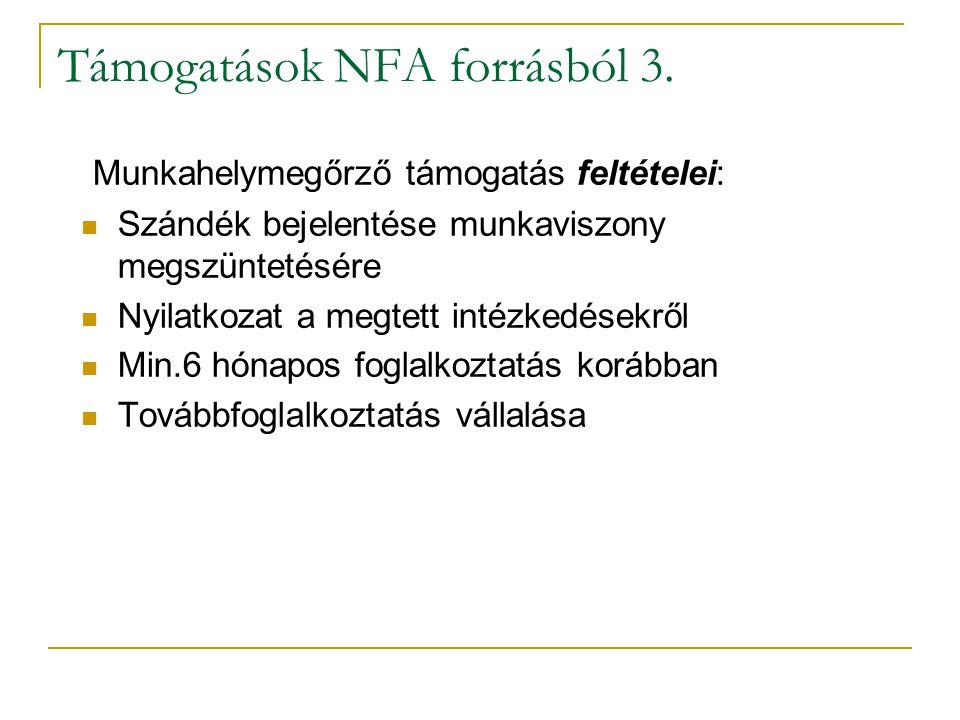 Támogatások NFA forrásból 3. Munkahelymegőrző támogatás feltételei: Szándék bejelentése munkaviszony megszüntetésére Nyilatkozat a megtett intézkedése