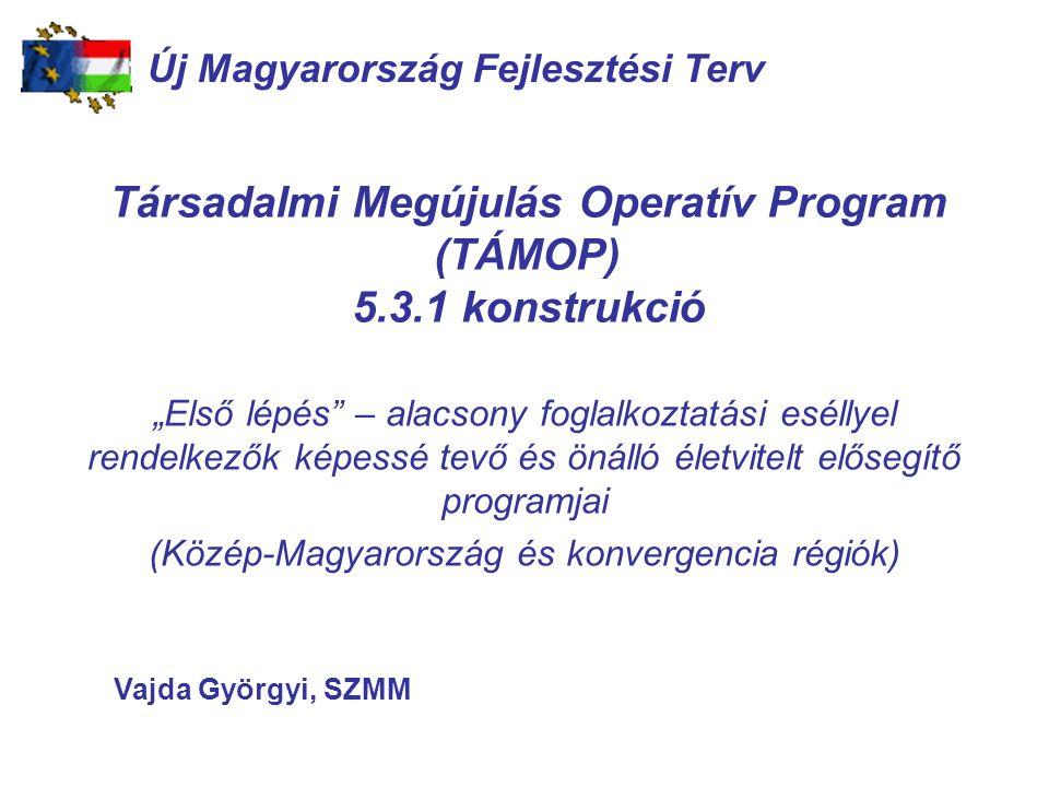 """Társadalmi Megújulás Operatív Program (TÁMOP) 5.3.1 konstrukció """"Első lépés – alacsony foglalkoztatási eséllyel rendelkezők képessé tevő és önálló életvitelt elősegítő programjai (Közép-Magyarország és konvergencia régiók) TAMOP 2.5.1 Új Magyarország Fejlesztési Terv Vajda Györgyi, SZMM"""