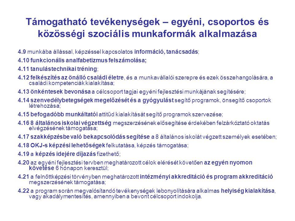 Támogatható tevékenységek – egyéni, csoportos és közösségi szociális munkaformák alkalmazása 4.9 munkába állással, képzéssel kapcsolatos információ, tanácsadás; 4.10 funkcionális analfabetizmus felszámolása; 4.11 tanulástechnikai tréning; 4.12 felkészítés az önálló családi életre, és a munkavállalói szerepre és ezek összehangolására, a családi kompetenciák kialakítása; 4.13 önkéntesek bevonása a célcsoport tagjai egyéni fejlesztési munkájának segítésére; 4.14 szenvedélybetegségek megelőzését és a gyógyulást segítő programok, önsegítő csoportok létrehozása; 4.15 befogadóbb munkáltatói attitűd kialakítását segítő programok szervezése; 4.16 8 általános iskolai végzettség megszerzésének elősegítése érdekében felzárkóztató oktatás elvégzésének támogatása; 4.17 szakképzésbe való bekapcsolódás segítése a 8 általános iskolát végzett személyek esetében; 4.18 OKJ-s képzési lehetőségek felkutatása, képzés támogatása; 4.19 a képzés idejére díjazás fizethető; 4.20 az egyéni fejlesztési tervben meghatározott célok elérését követően az egyén nyomon követése 6 hónapon keresztül; 4.21 a felnőttképzési törvényben meghatározott intézményi akkreditáció és program akkreditáció megszerzésének támogatása; 4.22 a program során megvalósítandó tevékenységek lebonyolítására alkalmas helyiség kialakítása, vagy akadálymentesítés, amennyiben a bevont célcsoport indokolja.