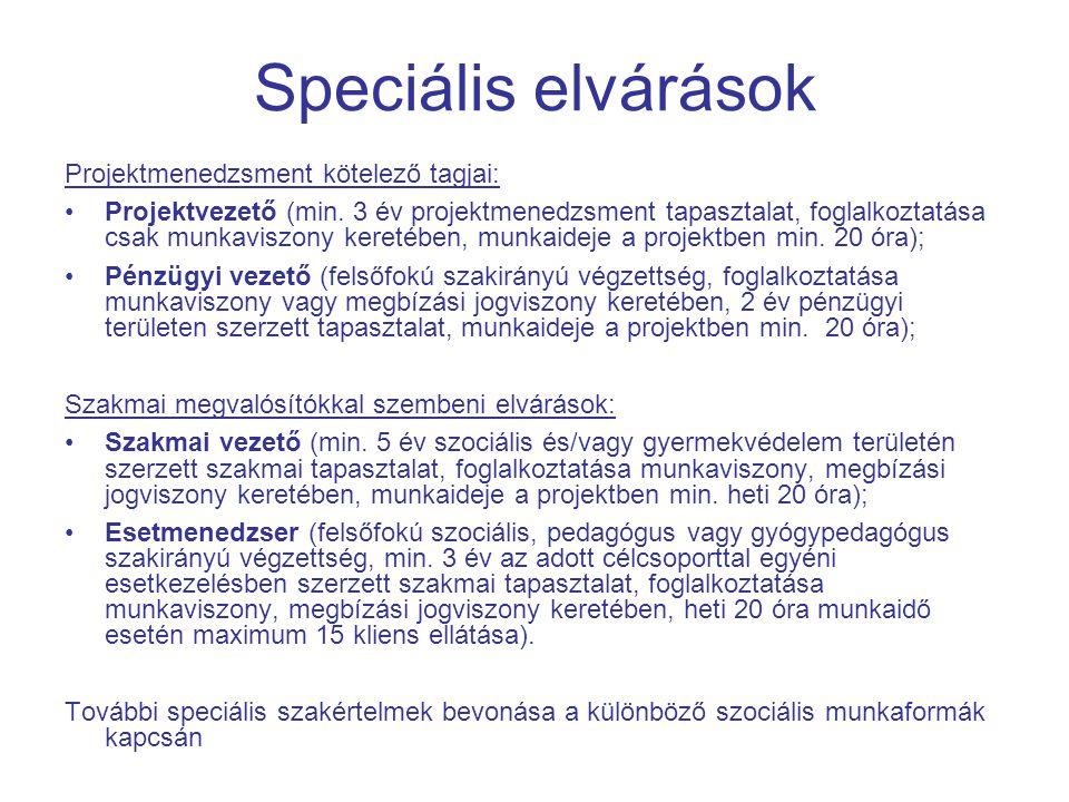 Speciális elvárások Projektmenedzsment kötelező tagjai: Projektvezető (min.