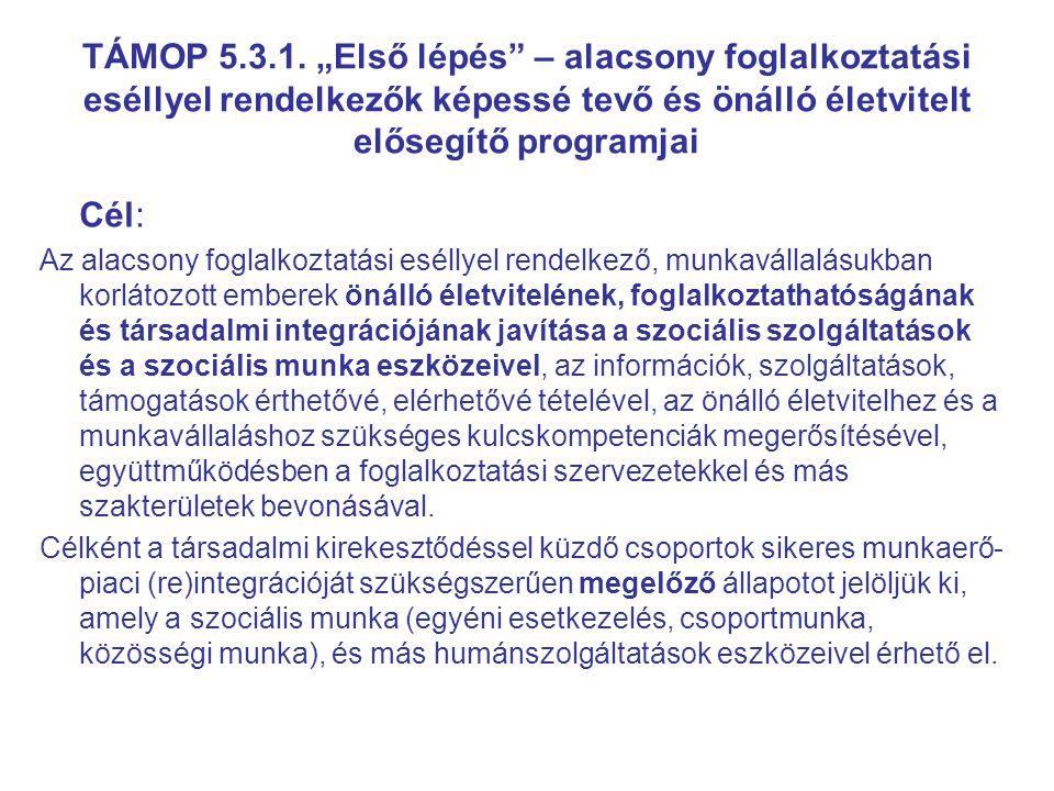 Támogatható tevékenységek – egyéni, csoportos és közösségi szociális munkaformák alkalmazása 4.1 egyénre szabott fejlesztési és szolgáltatási terv készítése (Útmutató az egyéni fejlesztési és szolgáltatási terv elkészítéséhez) és a szolgáltatási tervben megfogalmazott esetkezelési lépések végrehajtása; 4.2 szociális, állampolgári, munkavállalói és önálló életvezetési készségek erősítése; 4.3 tanulási- és munkamotiváció erősítése; 4.4 kulcs kompetenciák fejlesztése (pl.