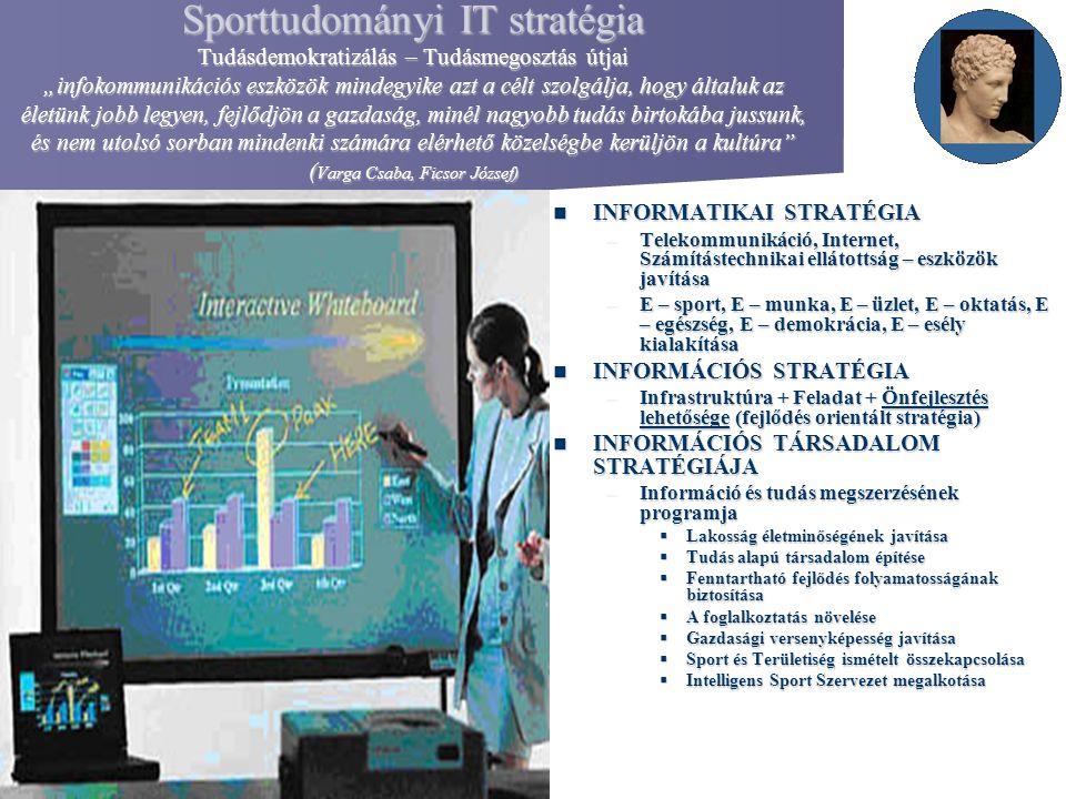 """Sporttudományi IT stratégia Tudásdemokratizálás – Tudásmegosztás útjai """"infokommunikációs eszközök mindegyike azt a célt szolgálja, hogy általuk az él"""