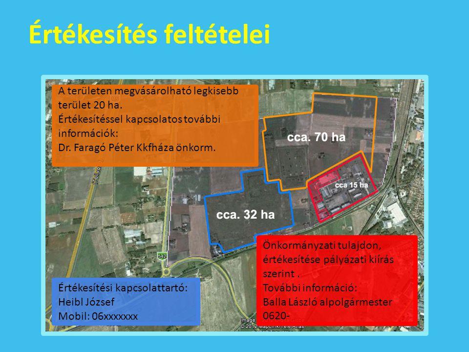Értékesítés feltételei A területen megvásárolható legkisebb terület 20 ha.