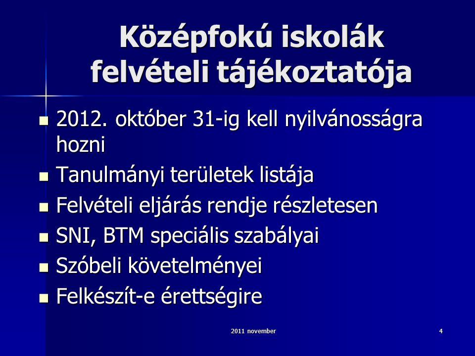 Középfokú iskolák felvételi tájékoztatója 2012. október 31-ig kell nyilvánosságra hozni 2012.