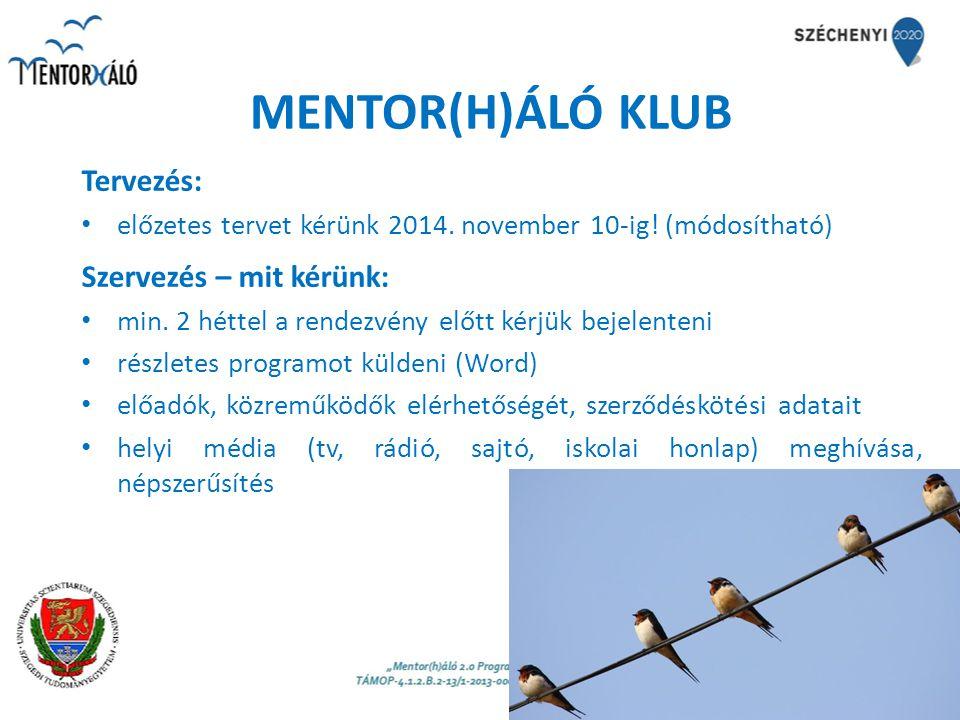 MENTOR(H)ÁLÓ KLUB Tervezés: előzetes tervet kérünk 2014. november 10-ig! (módosítható) Szervezés – mit kérünk: min. 2 héttel a rendezvény előtt kérjük
