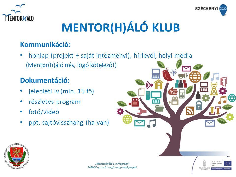 MENTOR(H)ÁLÓ KLUB Kommunikáció: honlap (projekt + saját intézményi), hírlevél, helyi média (Mentor(h)áló név, logó kötelező!) Dokumentáció: jelenléti