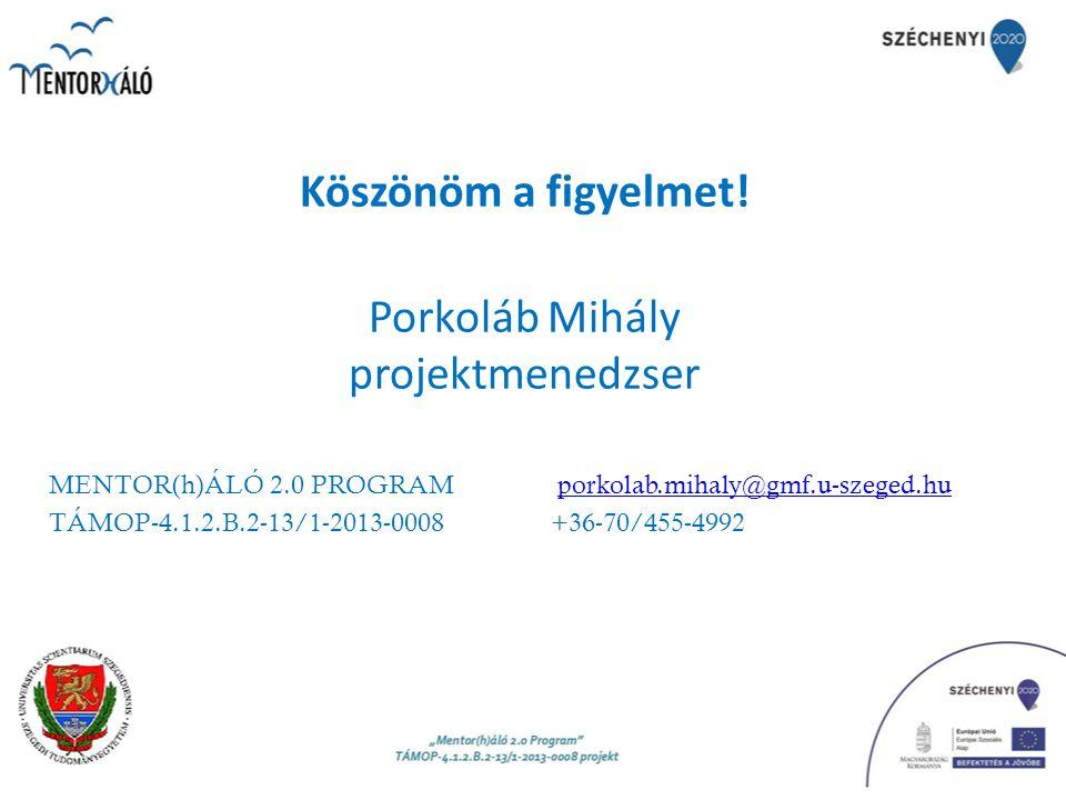 Köszönöm a figyelmet! Porkoláb Mihály projektmenedzser MENTOR(h)ÁLÓ 2.0 PROGRAM porkolab.mihaly@gmf.u-szeged.huporkolab.mihaly@gmf.u-szeged.hu TÁMOP-4