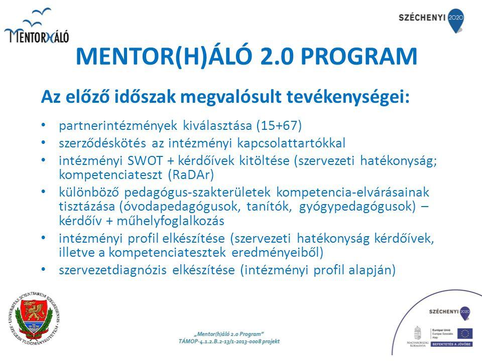 Az előző időszak megvalósult tevékenységei: partnerintézmények kiválasztása (15+67) szerződéskötés az intézményi kapcsolattartókkal intézményi SWOT +