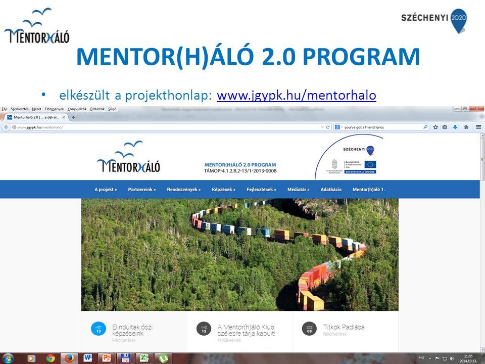 MENTOR(H)ÁLÓ 2.0 PROGRAM elkészült a projekthonlap: www.jgypk.hu/mentorhalowww.jgypk.hu/mentorhalo