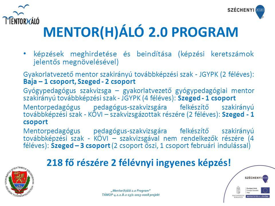 MENTOR(H)ÁLÓ 2.0 PROGRAM képzések meghirdetése és beindítása (képzési keretszámok jelentős megnövelésével) Gyakorlatvezető mentor szakirányú továbbkép