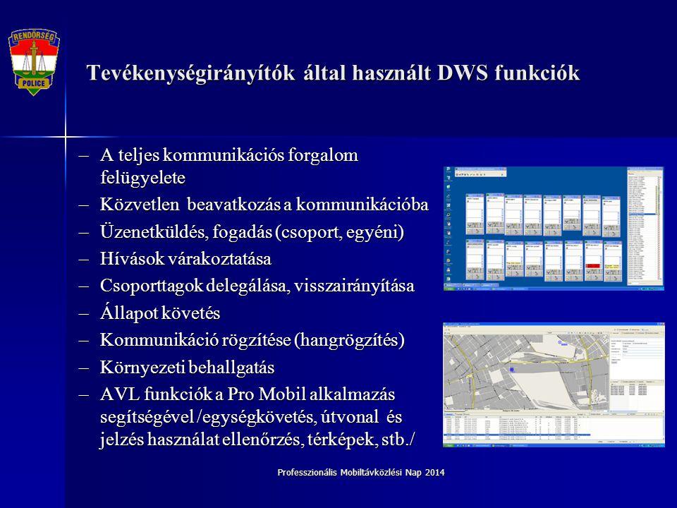 Professzionális Mobiltávközlési Nap 2014 A felhasználók DWS üzemeltetési tapasztalatai Modern környezet Megújult LAN infrastruktúra Képzett diszpécser állomány Koncentrált eszközpark Tartalék munkahelyek kialakítása Katasztrófavédelem és Rendőrség diszpécserei ugyanazon irányító központban Továbbképzési feltételek rendelkezésre állnak Ideális kapcsolat a szolgáltatóval Rövid hibaelhárítási reakcióidő
