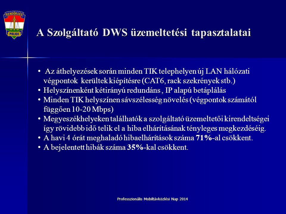 Professzionális Mobiltávközlési Nap 2014 A Szolgáltató DWS üzemeltetési tapasztalatai Az áthelyezések során minden TIK telephelyen új LAN hálózati vég