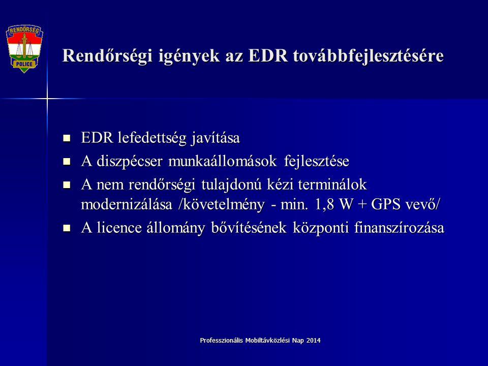 Professzionális Mobiltávközlési Nap 2014 Rendőrségi igények az EDR továbbfejlesztésére EDR lefedettség javítása EDR lefedettség javítása A diszpécser