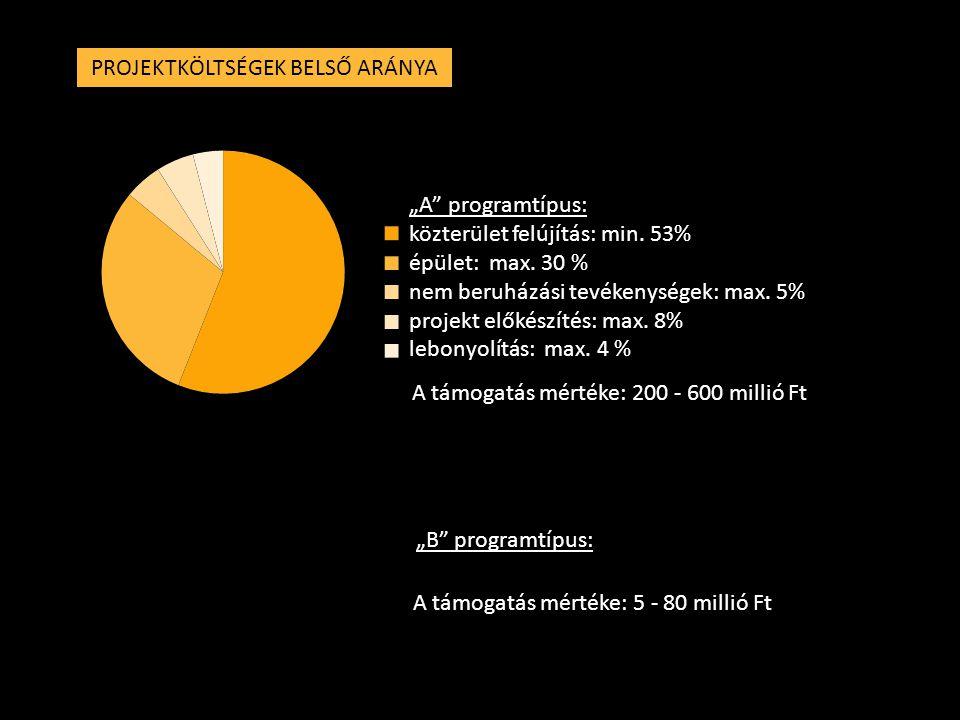 """PROJEKTKÖLTSÉGEK BELSŐ ARÁNYA """"A"""" programtípus: közterület felújítás: min. 53% épület: max. 30 % nem beruházási tevékenységek: max. 5% projekt előkész"""