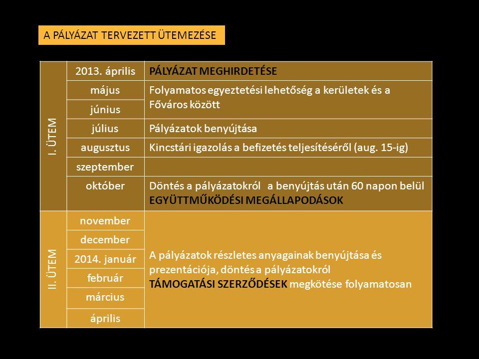 A PÁLYÁZAT TERVEZETT ÜTEMEZÉSE I. ÜTEM 2013.