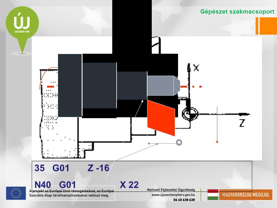 35 G01 Z -16 N40 G01 X 22 Gépészet szakmacsoport