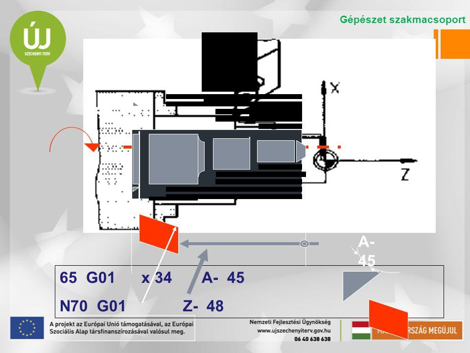 65 G01 x 34 A- 45 N70 G01 Z- 48 A- 45 Gépészet szakmacsoport