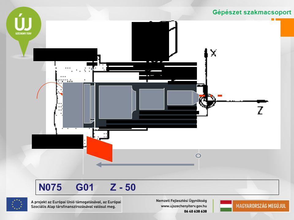 N075 G01 Z - 50 Gépészet szakmacsoport