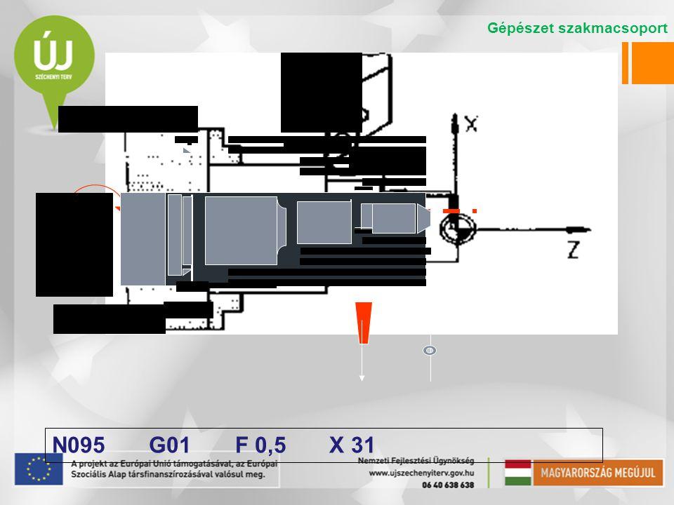 N095 G01 F 0,5 X 31 Gépészet szakmacsoport