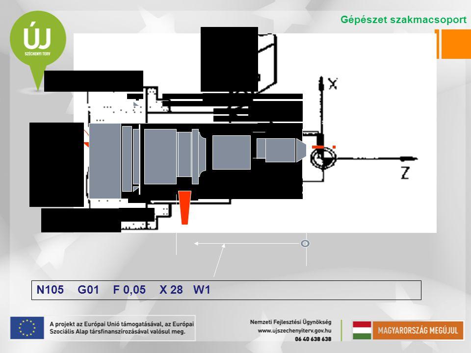N105 G01 F 0,05 X 28 W1 Gépészet szakmacsoport