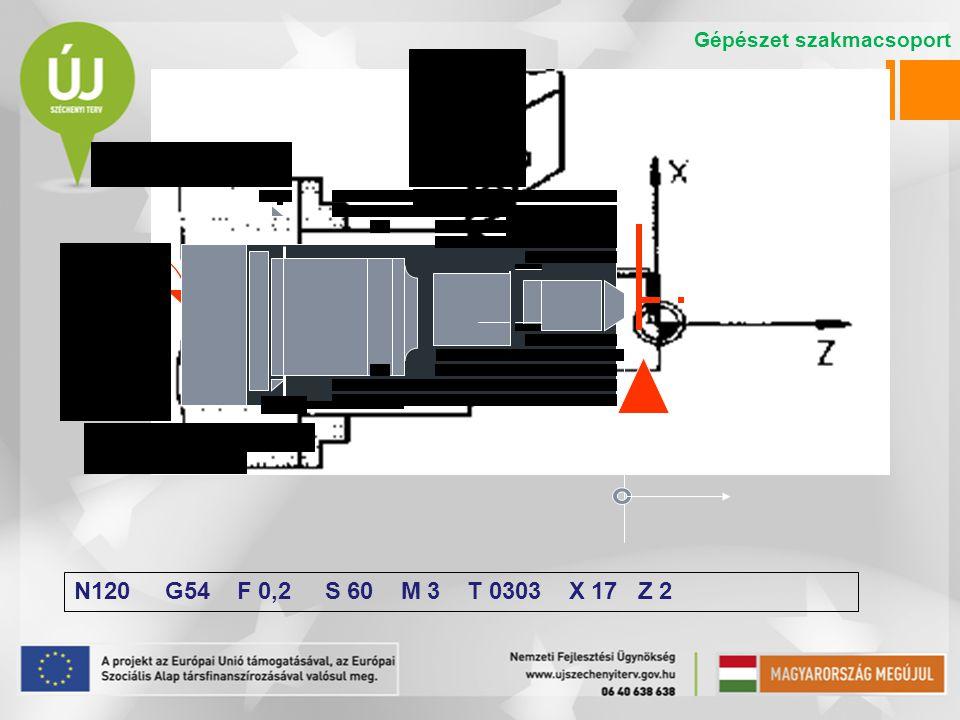 N120 G54 F 0,2 S 60 M 3 T 0303 X 17 Z 2 Gépészet szakmacsoport