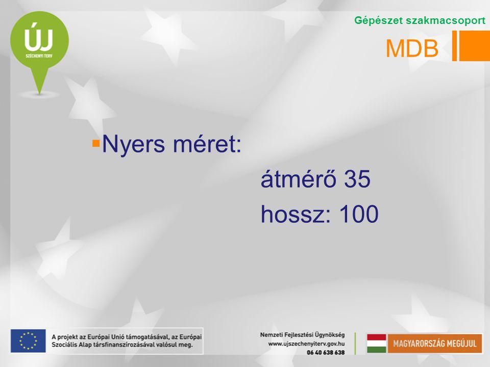 MDB  Nyers méret: átmérő 35 hossz: 100 Gépészet szakmacsoport