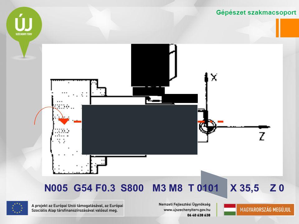N005 G54 F0.3 S800 M3 M8 T 0101 X 35,5 Z 0 Gépészet szakmacsoport