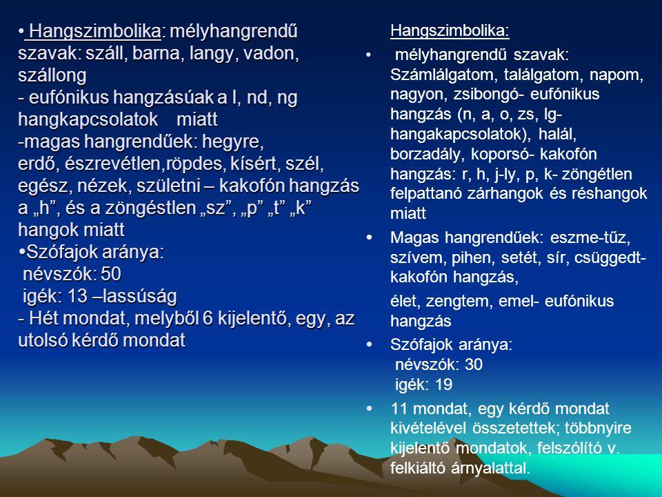 """Hangszimbolika: mélyhangrendű szavak: száll, barna, langy, vadon, szállong - eufónikus hangzásúak a l, nd, ng hangkapcsolatok miatt -magas hangrendűek: hegyre, erdő, észrevétlen,röpdes, kísért, szél, egész, nézek, születni – kakofón hangzás a """"h , és a zöngéstlen """"sz , """"p """"t """"k hangok miatt  Szófajok aránya: névszók: 50 igék: 13 –lassúság - Hét mondat, melyből 6 kijelentő, egy, az utolsó kérdő mondat Hangszimbolika: mélyhangrendű szavak: száll, barna, langy, vadon, szállong - eufónikus hangzásúak a l, nd, ng hangkapcsolatok miatt -magas hangrendűek: hegyre, erdő, észrevétlen,röpdes, kísért, szél, egész, nézek, születni – kakofón hangzás a """"h , és a zöngéstlen """"sz , """"p """"t """"k hangok miatt  Szófajok aránya: névszók: 50 igék: 13 –lassúság - Hét mondat, melyből 6 kijelentő, egy, az utolsó kérdő mondat Hangszimbolika: mélyhangrendű szavak: Számlálgatom, találgatom, napom, nagyon, zsibongó- eufónikus hangzás (n, a, o, zs, lg- hangakapcsolatok), halál, borzadály, koporsó- kakofón hangzás: r, h, j-ly, p, k- zöngétlen felpattanó zárhangok és réshangok miatt  Magas hangrendűek: eszme-tűz, szívem, pihen, setét, sír, csüggedt- kakofón hangzás, élet, zengtem, emel- eufónikus hangzás  Szófajok aránya: névszók: 30 igék: 19  11 mondat, egy kérdő mondat kivételével összetettek; többnyire kijelentő mondatok, felszólító v."""