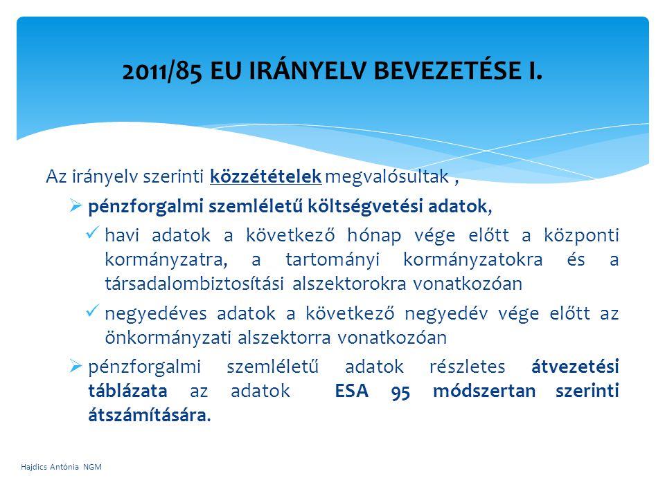 Az irányelv szerinti közzétételek megvalósultak,  pénzforgalmi szemléletű költségvetési adatok, havi adatok a következő hónap vége előtt a központi k