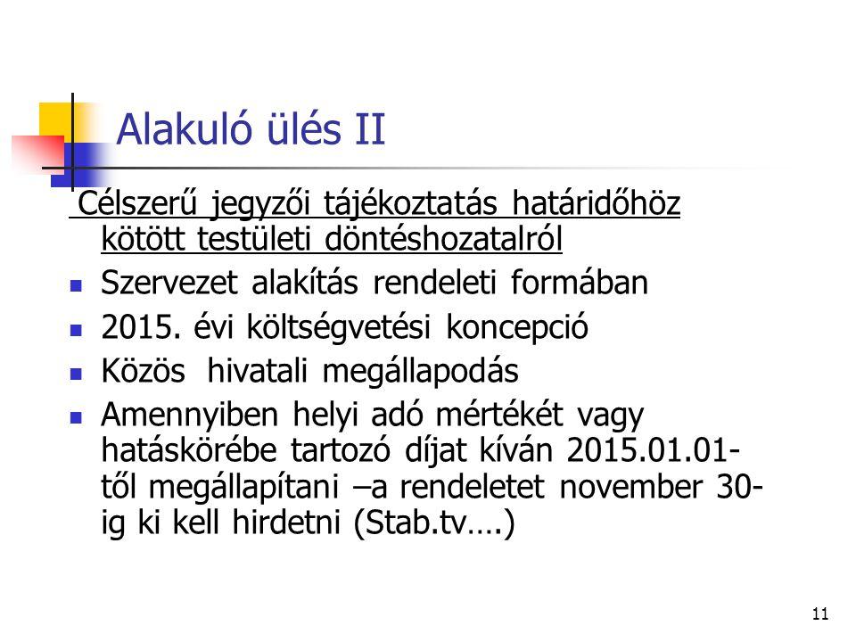 Alakuló ülés II Célszerű jegyzői tájékoztatás határidőhöz kötött testületi döntéshozatalról Szervezet alakítás rendeleti formában 2015.