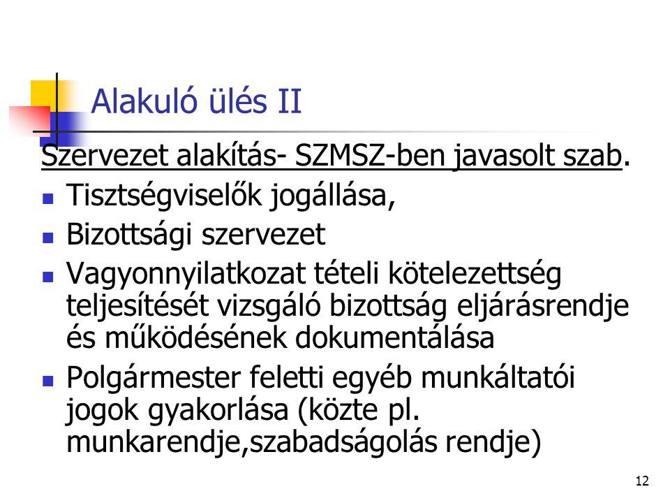 Alakuló ülés II Szervezet alakítás- SZMSZ-ben javasolt szab.