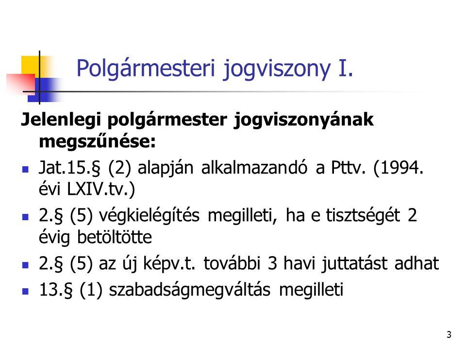 Polgármesteri jogviszony I Pttv.
