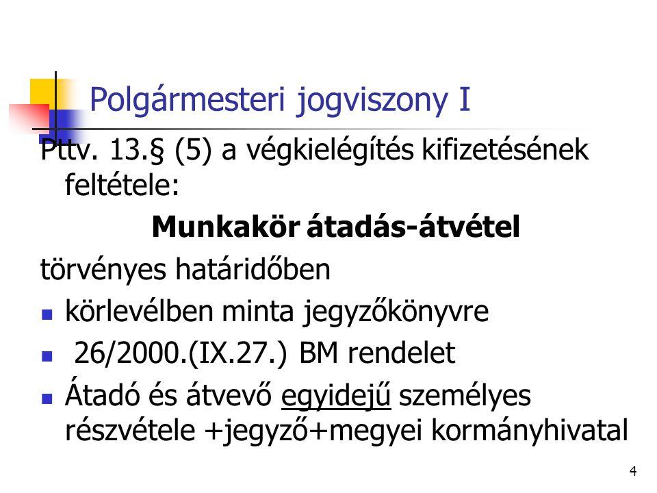 Polgármesteri jogviszony II 2014.10.12-én megválasztott polgármester jogviszonyára: Mötv és Kttv.