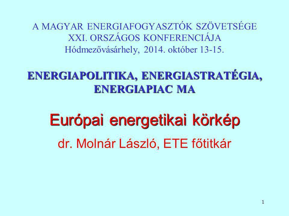 1 ENERGIAPOLITIKA, ENERGIASTRATÉGIA, ENERGIAPIAC MA A MAGYAR ENERGIAFOGYASZTÓK SZÖVETSÉGE XXI. ORSZÁGOS KONFERENCIÁJA Hódmezővásárhely, 2014. október