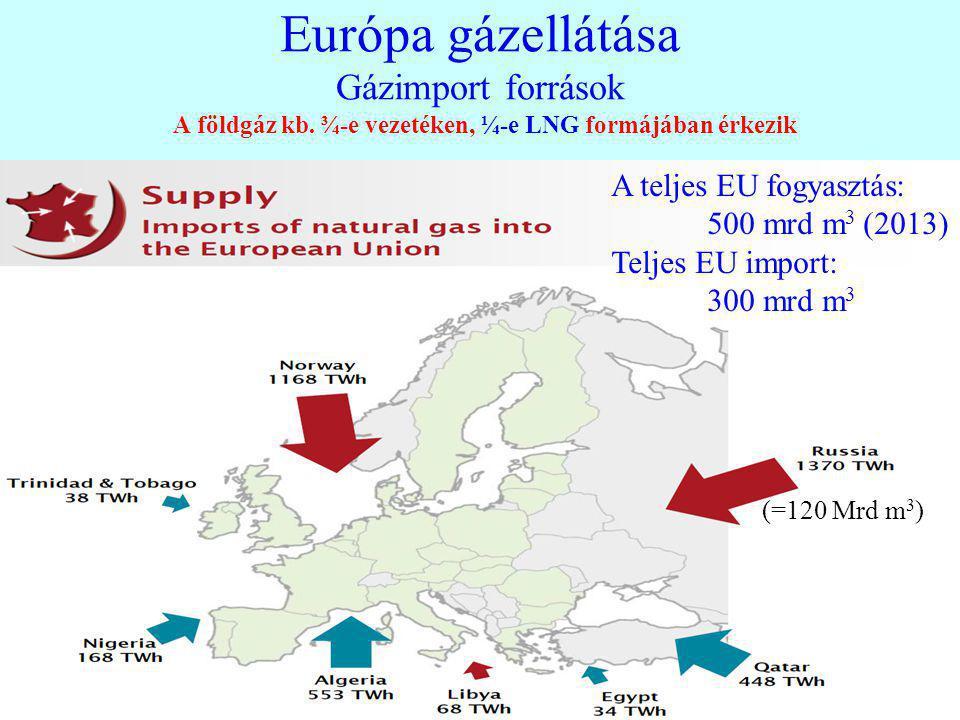 15 Európa gázellátása Gázimport források A földgáz kb. ¾-e vezetéken, ¼-e LNG formájában érkezik A teljes EU fogyasztás: 500 mrd m 3 (2013) Teljes EU